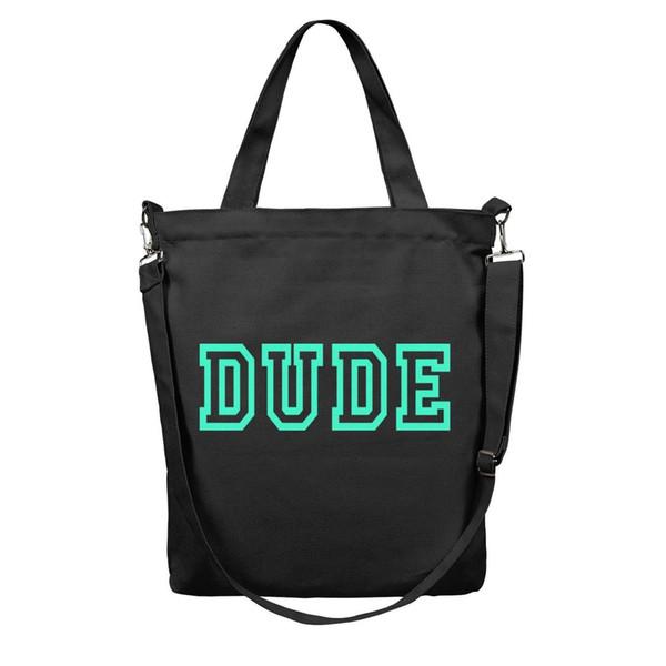 Women's Casual Essential Everyday reusable Shopping Bag-Dude Perfect Symbol Logo Design Canvas Tote Bag Shoulder Bags Black