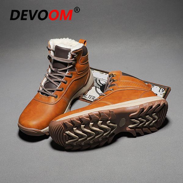 Yeni Moda Sonbahar Kış Erkek Bot Vintage Stil Klasik Pamuk yastıklı Erkekler Ayakkabı Casual Yüksek Cut Dantel Isınma Bilek Boot Hombre