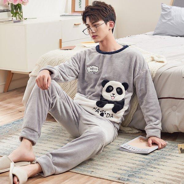 CherLemon Cartoon Panda Coral Fleece Pajamas Sleeping Suits For Men Winter Pijama Hombre