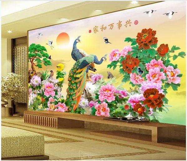 3d Wallpaper Custom Photo Mural Sunshine Peony Flower Peacock Tv Background Home Decor Living Room 3d Wall Murals Wallpaper For Walls 3 D Free