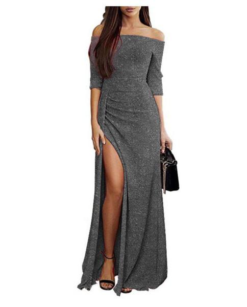 Autumn and Winter Women's Long Skirt Dresses Euro-American Women's Dresses with Silk Collar, Waist Open and Forked Dresses long skirts