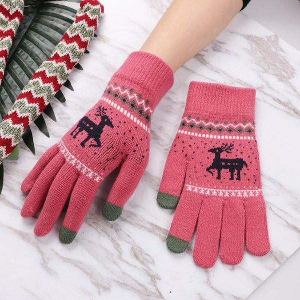 Winter Autumn Warm Women Knitted Gloves Touch Screen Wool Cashmere Gloves Full Finger Guantes Female Crochet Mitt Luvas
