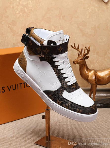 8 13 loui 13 vuitton 13 gucci 13 luxury men ca ual leather walking port trainer neaker running hoe with box 27, Black
