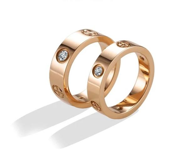 حار بيع التيتانيوم المقاوم للصدأ خواتم الحب للمجوهرات الأزواج النساء الرجال زركون خواتم الزفاف شعار BAGUE فام 6MM