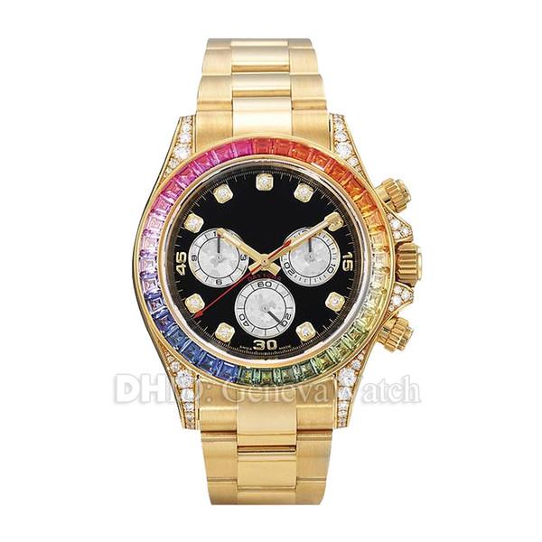 Montre de luxe pour homme 116598 RBOW Rainbow Diamond Bezel Montre mécanique automatique Montre en or 18 carats en acier inoxydable 316L sans chronographe