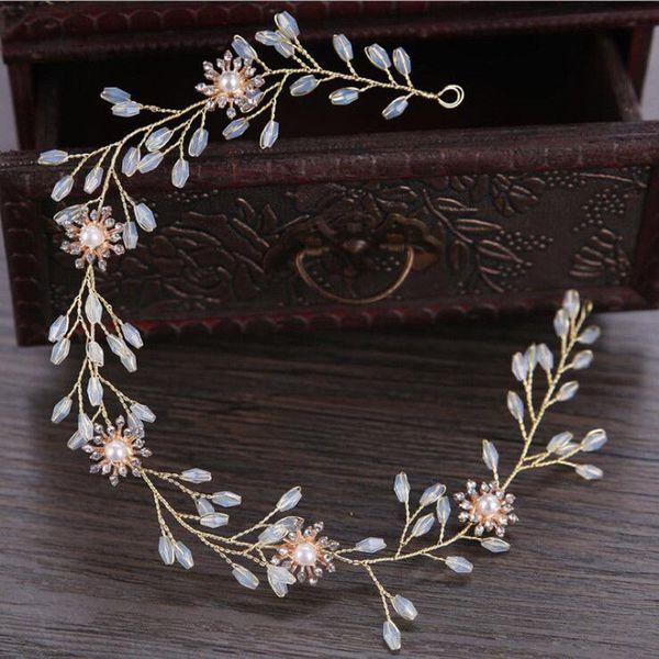 Retro White Crystal Pearl Floral Branch Wedding Bridal Party Headpiece Garland Bridal Tiara Head Band Hair Band Jewelry