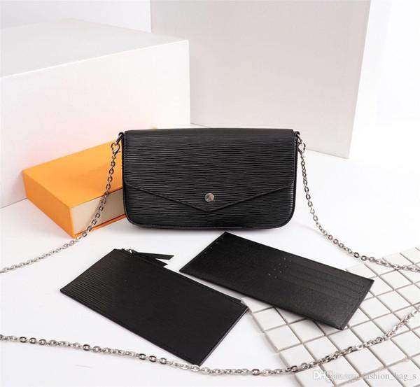 Дизайнер Дизайнер Дизайнерская Сумочка Модная Цепная Сумка Кошельки из трех частей Женская Кожа ПВХ Классический Кошелек для Карт с Коробкой 580