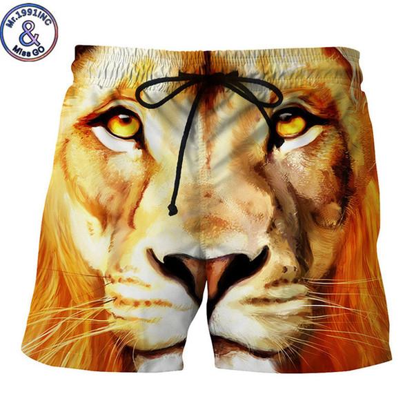 Mr.1991INC Animal Print Lion Pantaloncini da spiaggia 3D da uomo Pantaloncini da fitness Maculino Homens 2018 Plus Size Taglia EU M-XXL