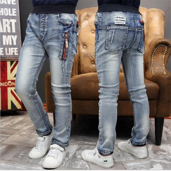 Spring 2016 New Children's Clothing Boys Jeans Big Virgin Casual Kids Pants Long Pants Fashion Spell Color Zipper Feet Trousers Y19062401