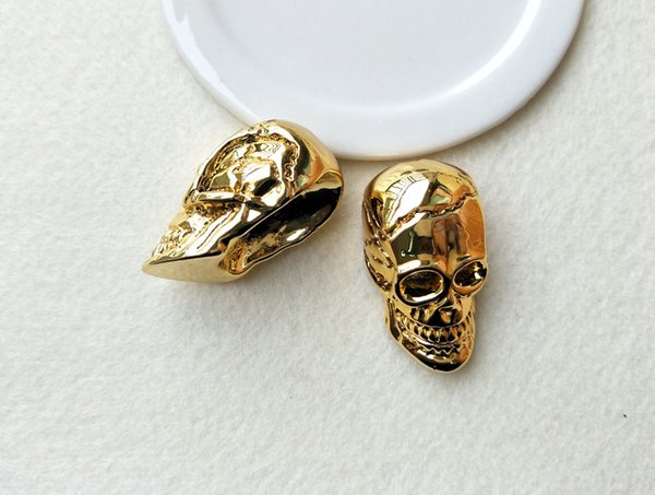 5 pieces Skull Shape Full Gold color Druzy bone Pendant Bead Golden Electroplated Charm for DIY jewelry necklace making PD395