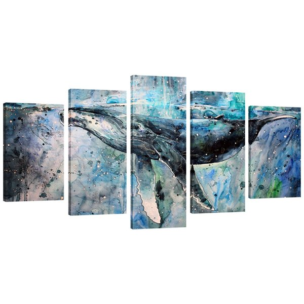 5 Panels Abstract Blue Whale Picture Canvas Prints Modern Wall Art Painting Stretched and Framed for Home Living Room Decoration