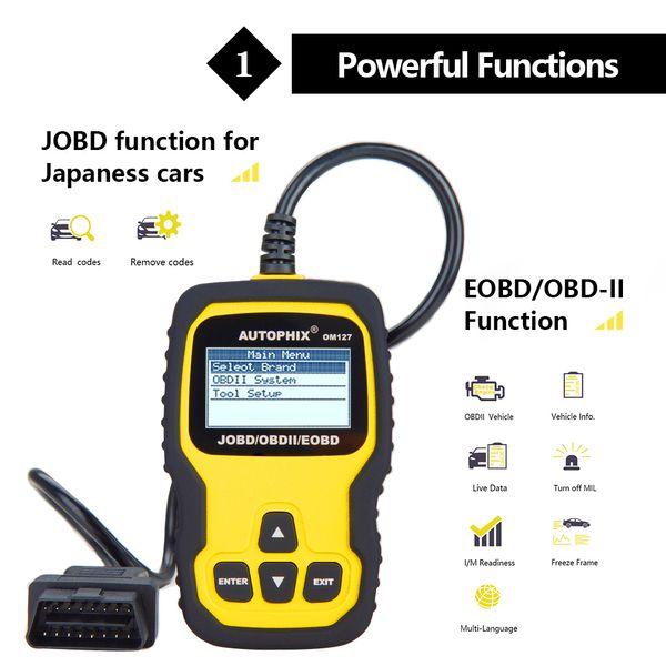 Om127 OBD OBD2 Scanner Automotive Diagnostic Tool Car Engine Fault Code Reader O2 Sensor EVAP System Test OBDII Scanner
