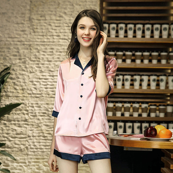 Women Simulated Silk Sleepwear Lady's Summer New Short Five-point sleeve Short Pants Home Suit Two Suits home New cool trend#40