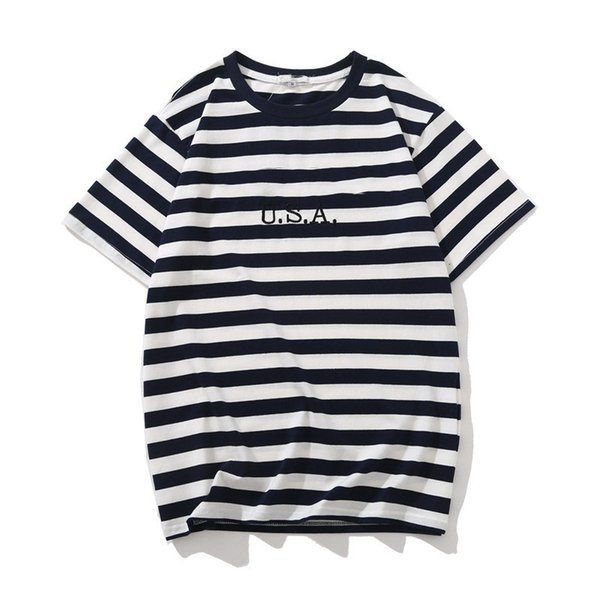 Fashion USA Mens Striped T shirts Summer Fashion Embroidery Designer Tees Short Sleeved Tops Clothes