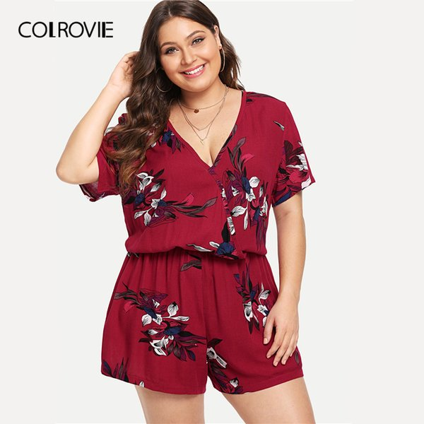 Colrovie Plus Size Burgundy V Neck Floral Print Wrap Beach Romper Women 2019 Summer Short Sleeve Vacation Short Jumpsuits Y19051601