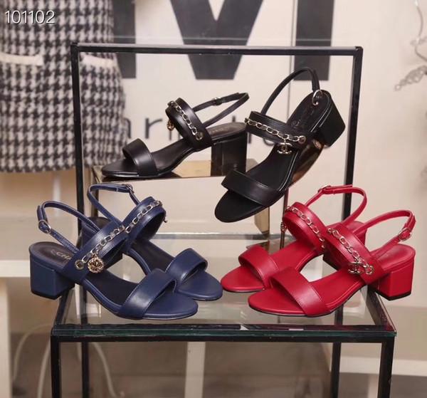 Kutu ile 19ss C kadın sandalet gerçek deri zincir cilt yüksek topuklu sandalet 35-401 Perçin şeffaf terlik slayt sandalet flip flop 3 renkler