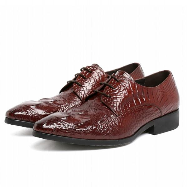 Vintage Dress Formal Shoes For Men Genuine Leather Wedding Office Business Formal Derby Shoe Male Handmade Shoes JS-A0069