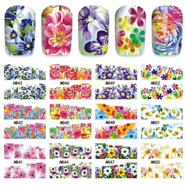 Bittb 12 Design Nail Art Stickers Full Cover Water Transfer Flower Floral Nail Sticker Decal DIY Decoration Foil Manicure Tools
