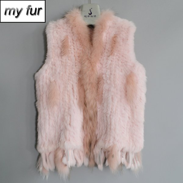 Hot Sale Handmade Women Real Fur Vest Knitted Tassels Real Genuine Fur Gilet Raccoon Collar Waistcoat