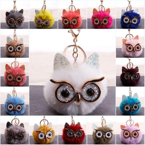 25 стилей многоцветный мультфильм брелок большие глаза сова меховой шар брелок подвеска имитация кролика волосы женская сумка украшения бумажник брелок M206Y