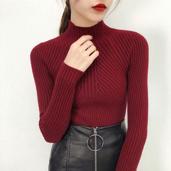 2019 Winter Lange Pullover Weibliche Übergroße Pullover Frauen Herbst Frauen Strickpullover Pull Rollkragen Damen Rot