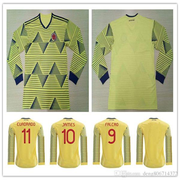 2019 Copa América Copa Colômbia Manga Longa Camisas De Futebol 10 JAMES 9 FALCAO CUADRADO VALDERRAMA Rodriguez Personalizado Casa Camisa de Futebol Amarelo