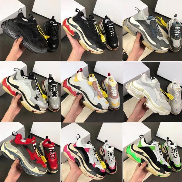 Acheter 2019Design Paris Triple Sneakers Chaussures De Basket Ball Papa Sneakers Luxe Souliers Simples De Vintage Sport Hommes Baskets Femme Sz 36 45