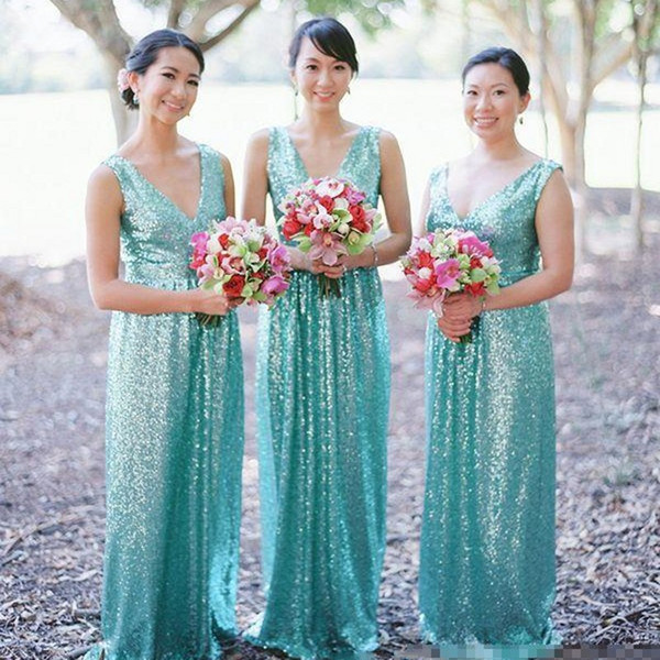 2020 barato de la turquesa de las lentejuelas vestidos de dama con cuello en V una línea de los plisados sin mangas drapeado de longitud de Criada de los vestidos de boda del vestido de visitantes