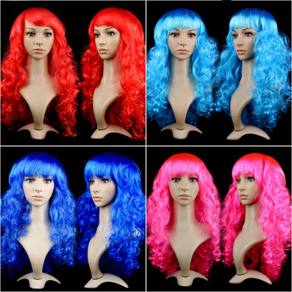 Hot Sale Women Anime Cosplay long Wigs Multicolor Synthetic Hair Wig Cosplay Costume ladies dress Deep Wave Wigs For Party club night