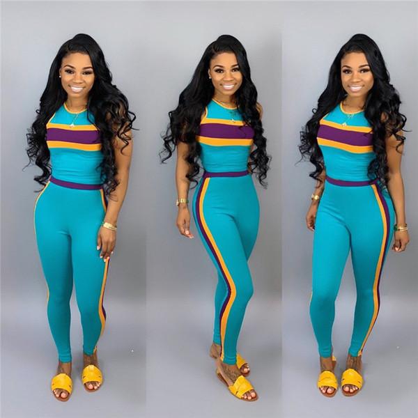 Women Sleeveless Patchwork Tracksuit Striped Print 2 Piece Set Tank Tops Pants Leggings Summer Women Outfits Sportswear Joggers Set A32108