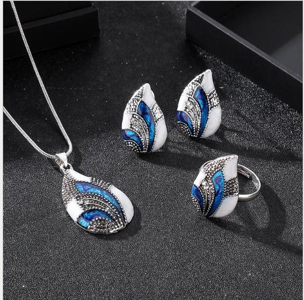 Pendientes de moda collar de anillo conjunto de joyas colgante en forma de gota conjunto de tres piezas de joyería