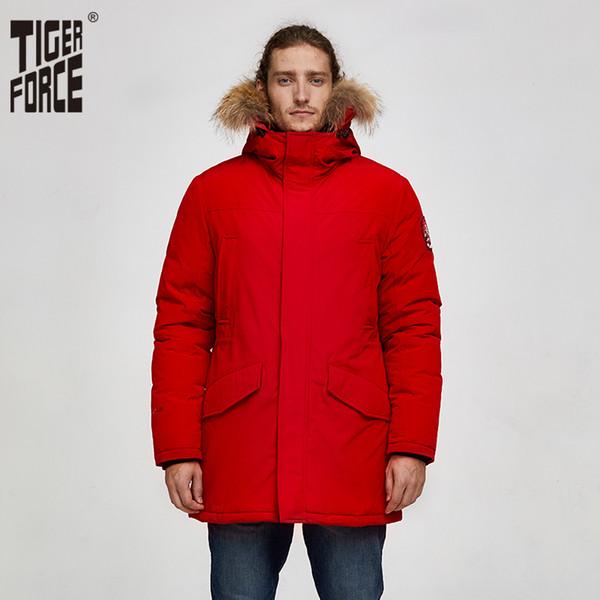 Tiger Force 2019 de la chaqueta de Alaska parka de invierno para los hombres cubren caliente a prueba de agua con el Real encapuchada de la piel masculina gruesa Snowjacket bolsillo grande