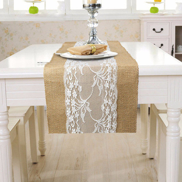 best selling Vintage Rustic Burlap Hessian Lace Table Runners Rustic Wedding Decoration Natural Burlap Table Runner 30cm x 275cm Free shipping