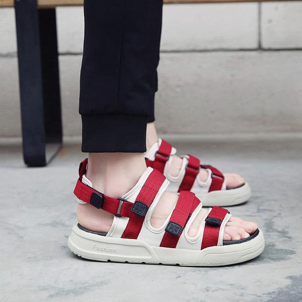Sapatos de Verão dos homens 2019 Moda Plana Sandálias Homens Gladiador Sapatos Casuais Ao Ar Livre Da Praia Masculina Sandalias Hombre Mens Sandálias Romanas