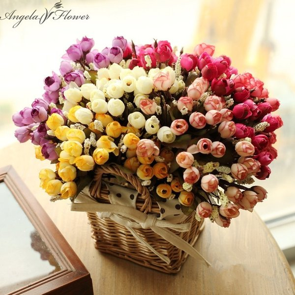 New 1 Set Artificial Small Tea Rose Flower With Rattan Flower Baskets Vase For Home Decoration Photo Props Silk Flower As Gift Y19061103