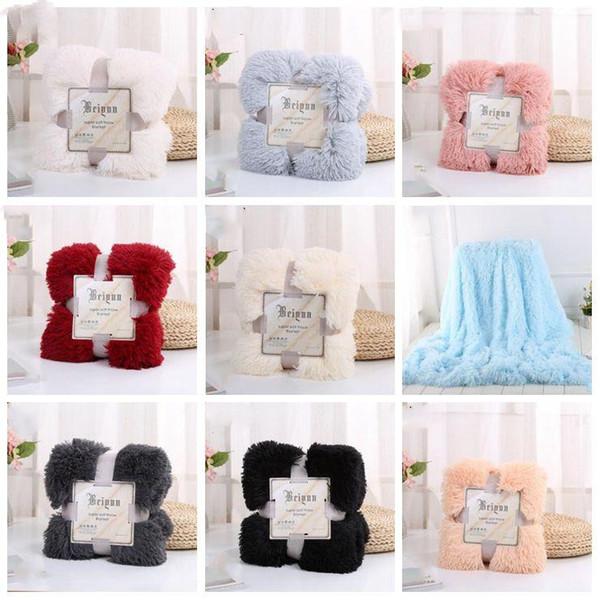 top popular Plush Blanket Super Soft Long Shaggy Blankets Fuzzy PV Faux Fur Warm Elegant Cozy Throw Sofas Bedding 80*120cm LXL1137- 2021