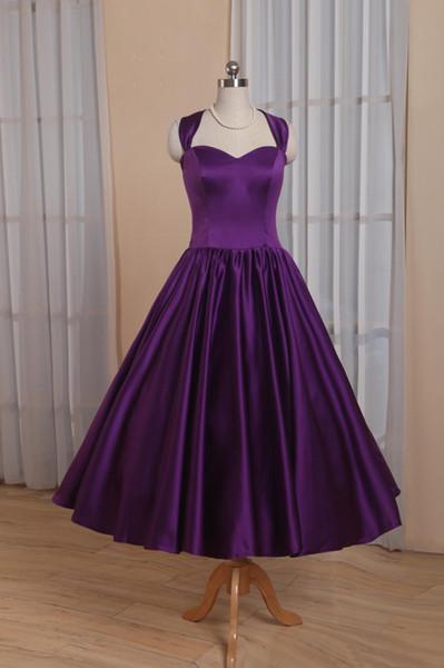 Setwell 2019 Elegant Purple Sweetheart A-ligne Robe De Soirée Sans Manche De Thé Longueur Plisse Satin Robe De Fete Formelle