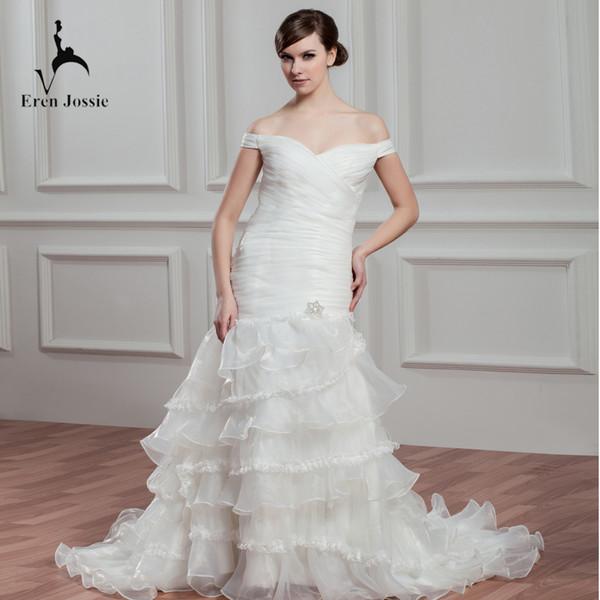 Eren Jossie Выпускное платье с заниженной талией и винтажными свадебными платьями с кружевной отделкой и оборками из органзы Оптовая свадебное платье