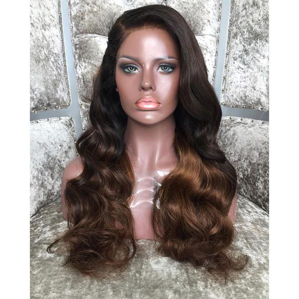 Ombre Body Wave Lace Front Perruques de cheveux humains avec des cheveux de bébé 1b / 30 # préplumée Full Lace perruques pour femmes noires en vente