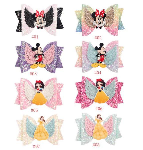 hair accessory cattoon barrettes for girls glitter wings hair grips rainbow color bowknot headwear cute babygirl hair bow