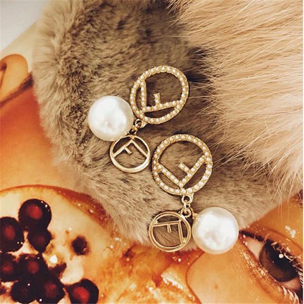 INS Style Earrings with Pearls Vintage Style Women Earrings Tide Brand FF Earrings as Birthday Gifts