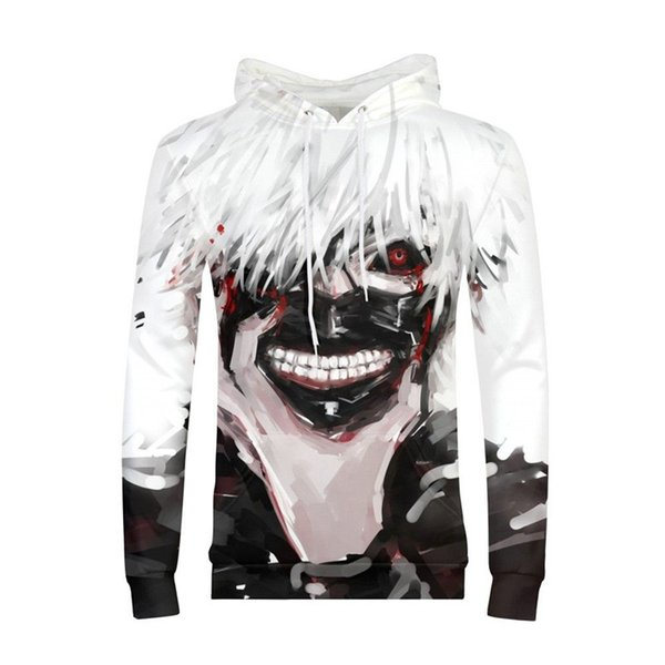 Men Hoodies Fashion Luxury Harajuku Tokyo Ghoul Pattern Hooded Pullover Hoodies Sweatshirt Long Sleeves Casual Costume