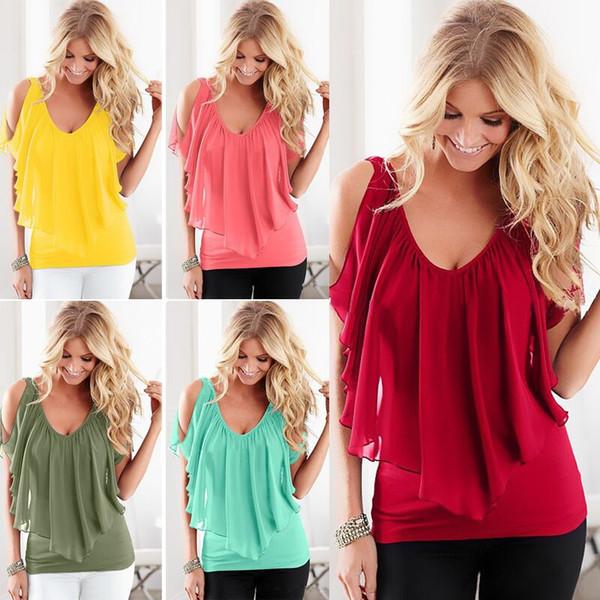 manches de mousseline de soie des femmes de la mode des femmes cousant t-shirt top chemisiers femmes chemises été bord de mer chemises