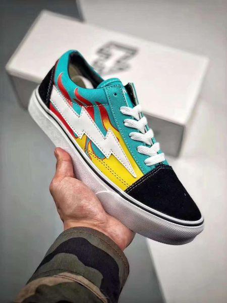 2021 New Fashion Revenge x Storm Pop Old Skool Designer Cavnas Shoes Womens Men Low Cut Skateboard Red Blue White Black Casual Shoes