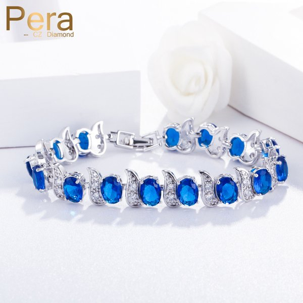 Pera European Design Natural Blue Cubic Zircon Crystal White Stone 925 Sterling Silver Jewelry Big Charm Bracelet For Women B079 C190420
