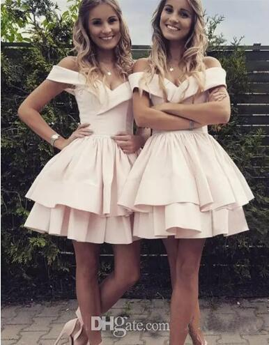 Charming Summer Homecoming Dresses Pale Pink 2019 Off The Shoulder Short Cocktail Party Dresses Bridesmaid Gowns Formal Party Dress