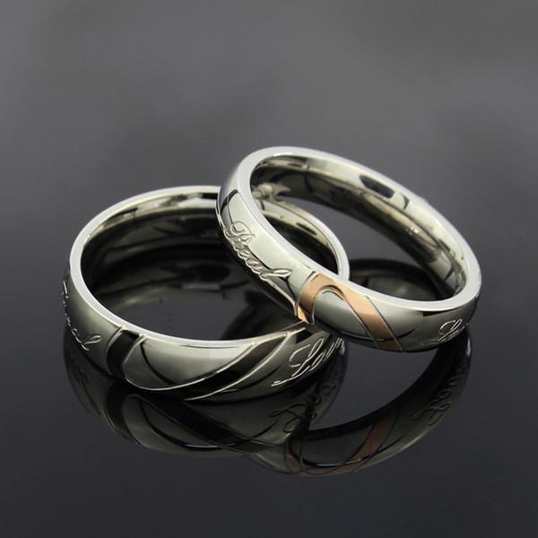Обручальные кольца Кольца Новый Любовь Сердце Нержавеющей Стали 316L 18 КГП Свадебные Обручальные Кольца Любовь Кольца Бесплатная доставка
