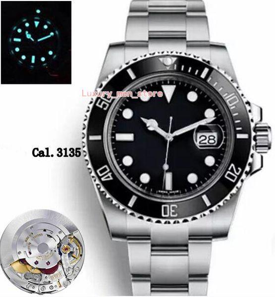 Gold seller Top Upgraded version V8 Version Mens Automatic Eta 3135 Watch Men Black Ceramic Bezel Luminous Calendar Sapphire Sport Dive hot1