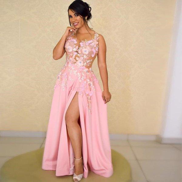 Lado rosa dividir uma linha da dama de honra dresse decote em v ilusão top apliques frisado longo cocktail party dress frisado vestidos de festa de formatura