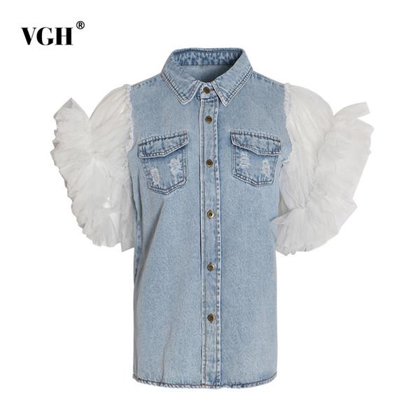 VGH Mesh Denim Patchwork Veste Femme Revers Collar Manches Bouffantes Grande Taille Denim Manteaux Femme Été 2019 Mode Casual